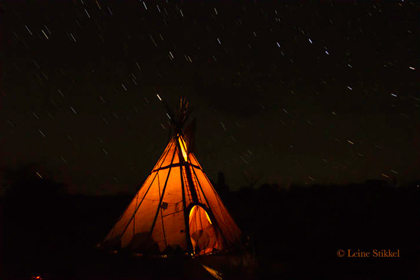 Perseid Meteor over Teepee